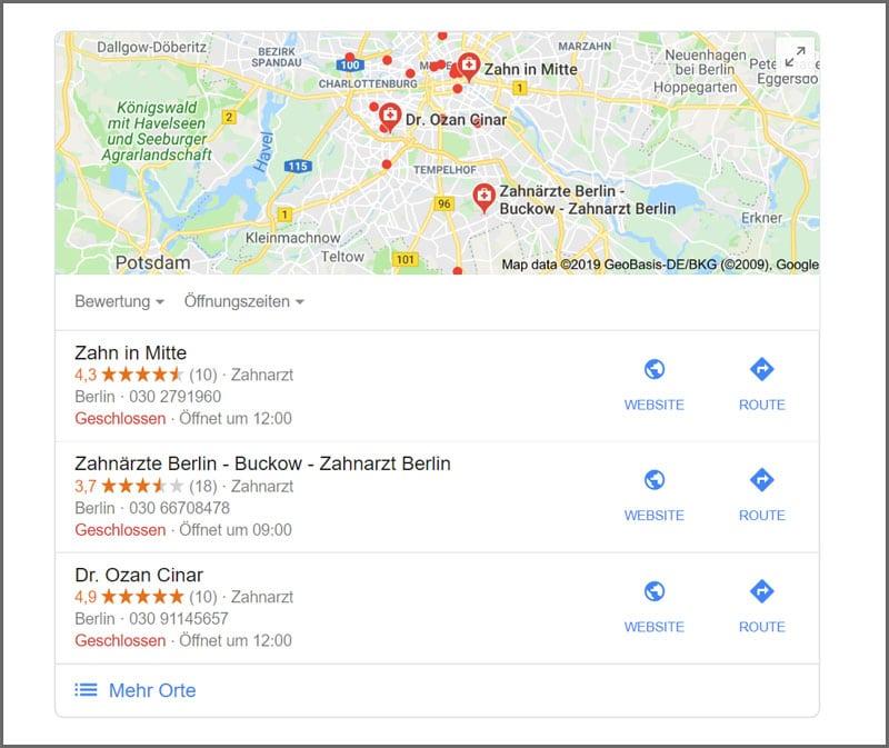 Lokale Suchanfrage bei Google