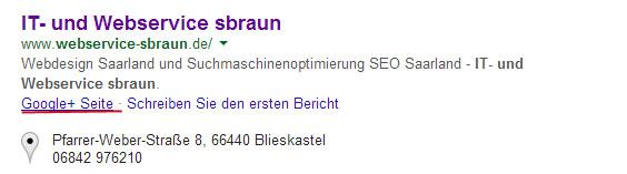 Google+ Seite in den Suchergebnissen