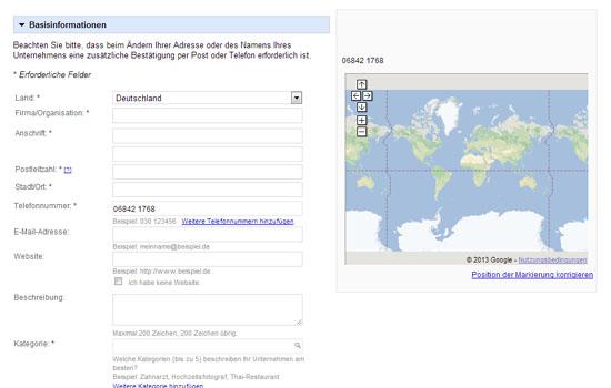 Google Places - Basisinformationen