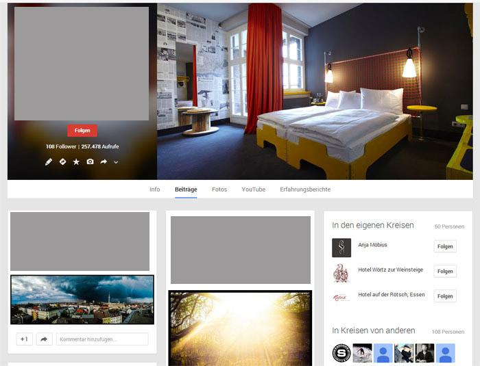 Perfekte Google + Seite