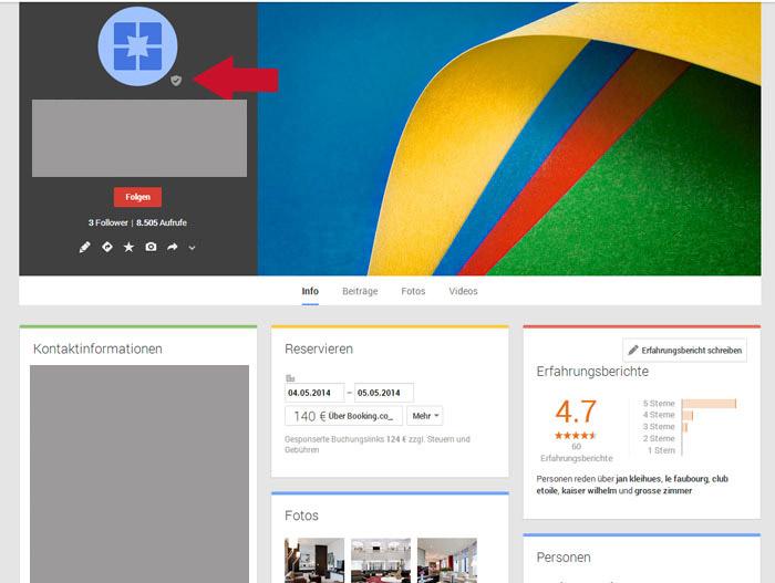 Verwaltete Google + Seite